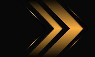 Dirección de flecha dorada abstracta en diseño metálico negro ilustración de vector de fondo futurista de lujo moderno.
