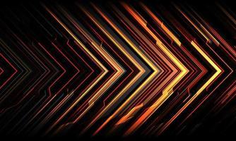 abstracto rojo amarillo negro flecha línea circuito luz cibernética tecnología geométrica dirección futurista diseño fondo moderno ilustración vectorial. vector