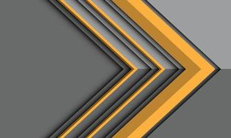 Abstract yellow arrow direction on grey metallic shadow with blank space design modern futuristic background vector illustration.