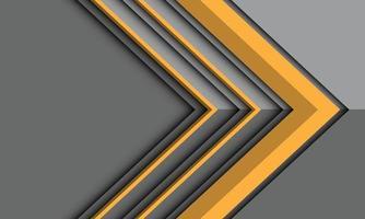 Dirección de la flecha amarilla abstracta en la sombra metálica gris con el ejemplo del vector del fondo futurista moderno del diseño del espacio en blanco.