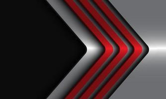 Dirección de flechas metálicas rojas abstractas en plata con diseño de espacio en blanco negro ilustración de vector de fondo futurista de lujo moderno.