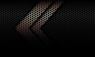 Dirección de la sombra de la flecha de oro abstracto en el ejemplo futurista moderno del vector del fondo del diseño de la malla del hexágono negro.
