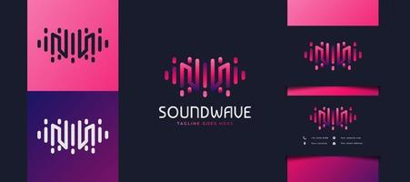 Initial Letter M Logo with Sound Wave Concept in Colorful Gradient, Usable for Business, Technology, or Music Studio Logos vector