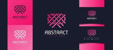 Abstract Line Logo Crossing Each Other in Pink Gradient, Usable for Business or Technology Identity vector