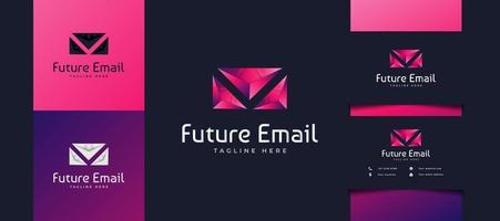 Diseño de logotipo de correo colorido moderno con concepto futurista, utilizable para logotipos de negocios o tecnología. plantilla de logotipo de sobre vector