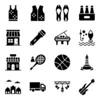 Festivals and Events Things icon set vector