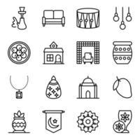 conjunto de iconos de eventos y accesorios culturales vector