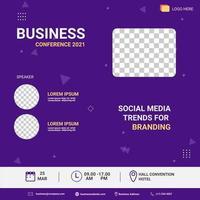 social media post template. Banner promotion. Business conference social media trend for branding