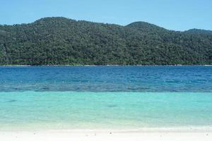Panorama view of seascape and clear sea with landscape of forest in the island photo