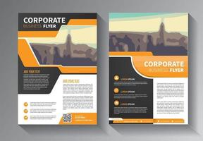 yellow flyer business template vector