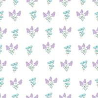 Cute simple Floral pattern in the small blue, purple flower. Seamless vector texture. Printing with small blue flowers. spring flowers, summer flowers.