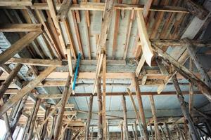 Perspective of structure inside the house under construction. photo