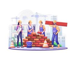 Happy Labour day. Construction workers are working on building in Labour Day On 1 May. vector illustration