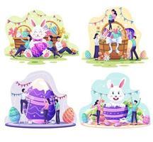 conjunto de feliz día de pascua. la gente celebra el día de pascua con conejito, cestas llenas de huevos de pascua, flores y adornos. ilustración vectorial vector