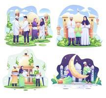 Set of Ramadhan concept illustration. Happy Muslim people celebrate Holy Month Ramadhan, Eid Mubarak greeting. vector illustration