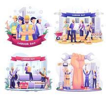 conjunto de jornada laboral. un grupo de personas de diferentes profesiones. empresario, chef, mujer policía, trabajadores de la construcción. ilustración vectorial vector