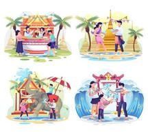 Set of People celebrate the Songkran festival Thailand Traditional New Year's Day. Vector Illustration