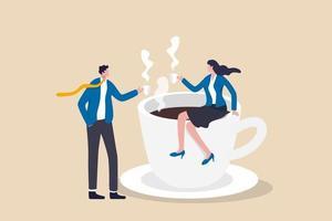 hombre de negocios y colega empresaria tomar un descanso tomando un café y charlar vector