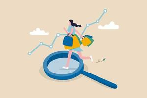 happy woman consumer holding full of shopping bags on analysis magnifying glass vector