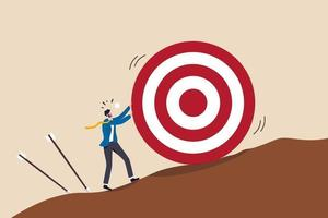 businessman trying hard to push dartboard or arrow target up the hill vector