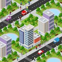 isométrica 3d calle céntrica arquitectura distrito parte de la ciudad con edificios de carreteras al aire libre. vector