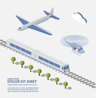 Airplane Train Helicopter transportation facilities of the city vector