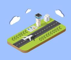 Isometric map of the city airport, the trees and the flight of construction vector