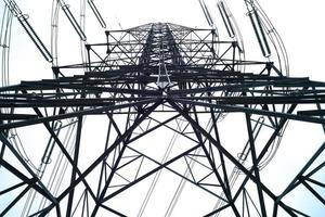 High angle view of high voltage electricity tower in sunny day with clear sky background photo