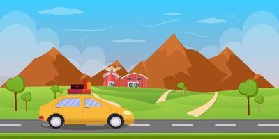 Road trip landscape background vector