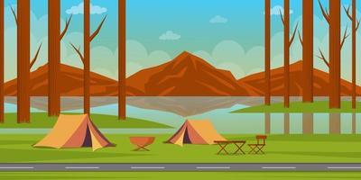 summer camping background landscape vector