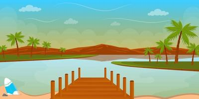 Amazing island landscape background vector