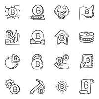 Bitcoin Doodle Designs icon set vector
