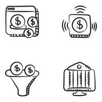 conjunto de iconos de banca y finanzas en línea vector