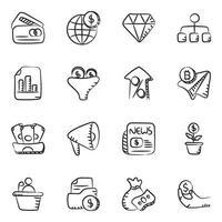 conjunto de iconos de elementos de negocios y finanzas vector