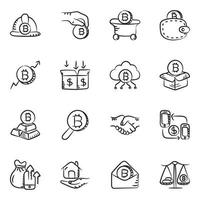 Money and cryptocurrency icon set vector