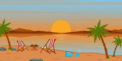 Beautiful  Beach Area landscape vector