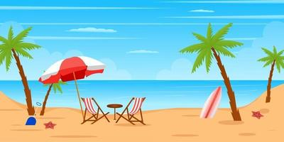 Beach View and Surfing landscape vector