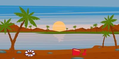 Beautiful  Beach Wallpaper landscape vector