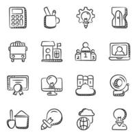Distance Education and Digital Education icon set vector