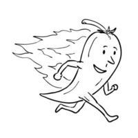 Flaming chilli pepper running, mascot retro vector