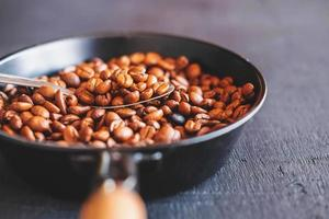 Close-up of coffee beans in a pan