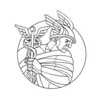 Hermes, messenger of gods, black and white. vector