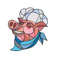 panadero de cerdo cerdo, mosaico de colores vector