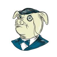 Drawing sketch style illustration of Mister Pig wearing a monocle and tuxedo bow tie vector