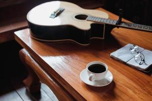 Guitar and coffee