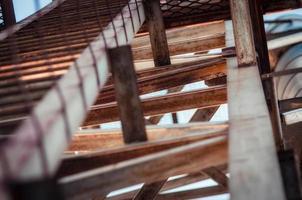 Close-up of wood beams photo