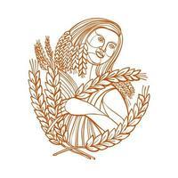 diosa demeter de la cosecha, línea mono vector