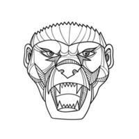 Honey Badger Head, Monoline vector