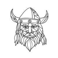 Mosaic low polygon style illustration of head of a viking vector