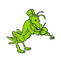 Drawing sketch style illustration of a grasshopper fiddler playing the violin vector